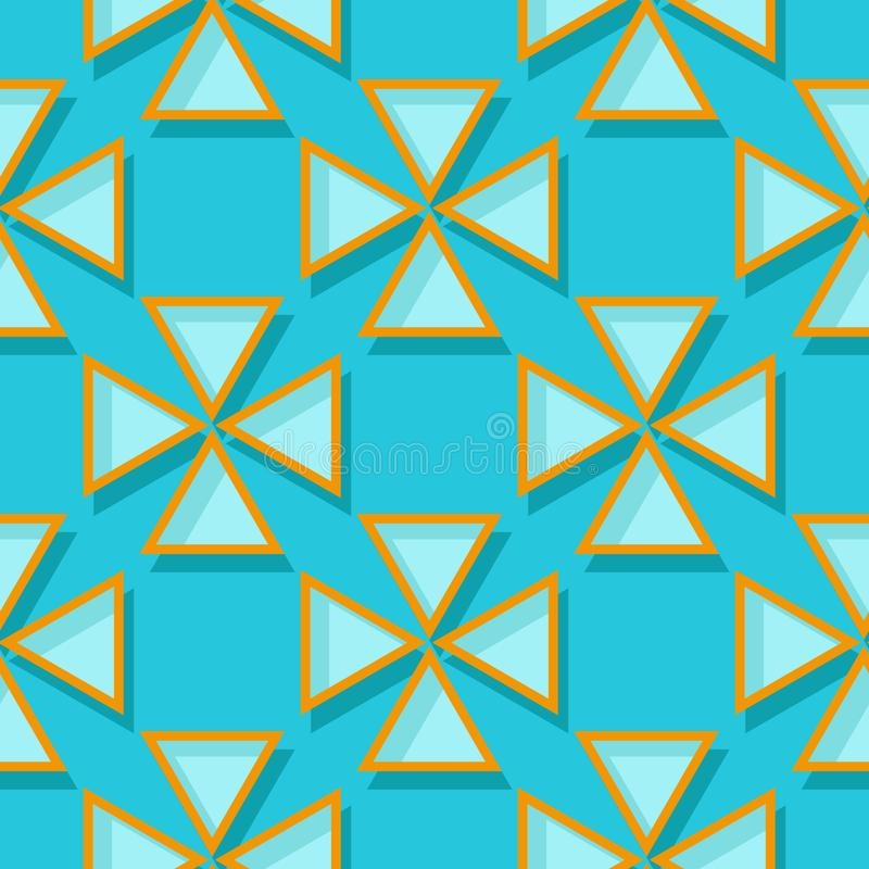 Seamless geometric pattern. Blue and orange 3d design royalty free illustration
