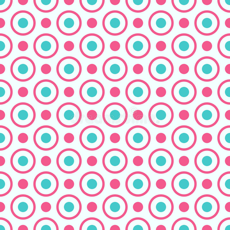 Seamless geometric pattern with bright pink and blue dots and circles. Seamless pattern can be used for wallpaper, pattern fills, web page background, surface vector illustration