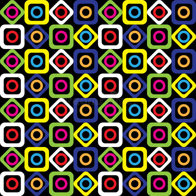 Seamless geometric pattern of bright squares, circles and diamonds on a black background. Vector. stock illustration