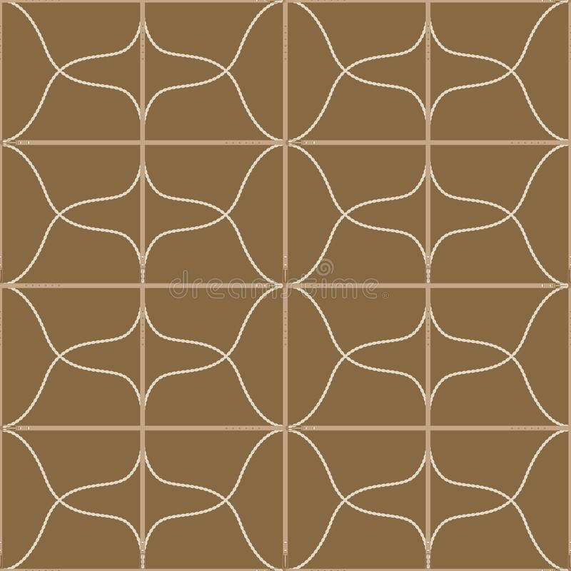Seamless geometric pattern with belts, ropes and buckles. Complex vector print in olive, yellow, tan and cream. royalty free illustration