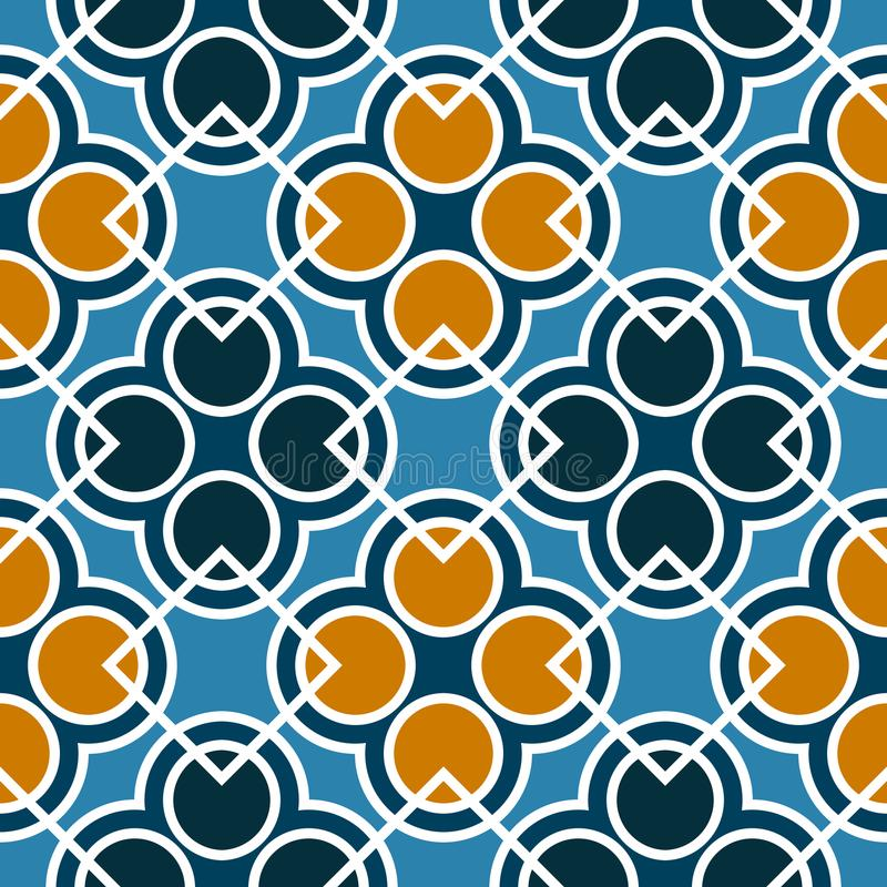 Seamless geometric pattern with circles and squares of blue, orange, and white shades vector illustration