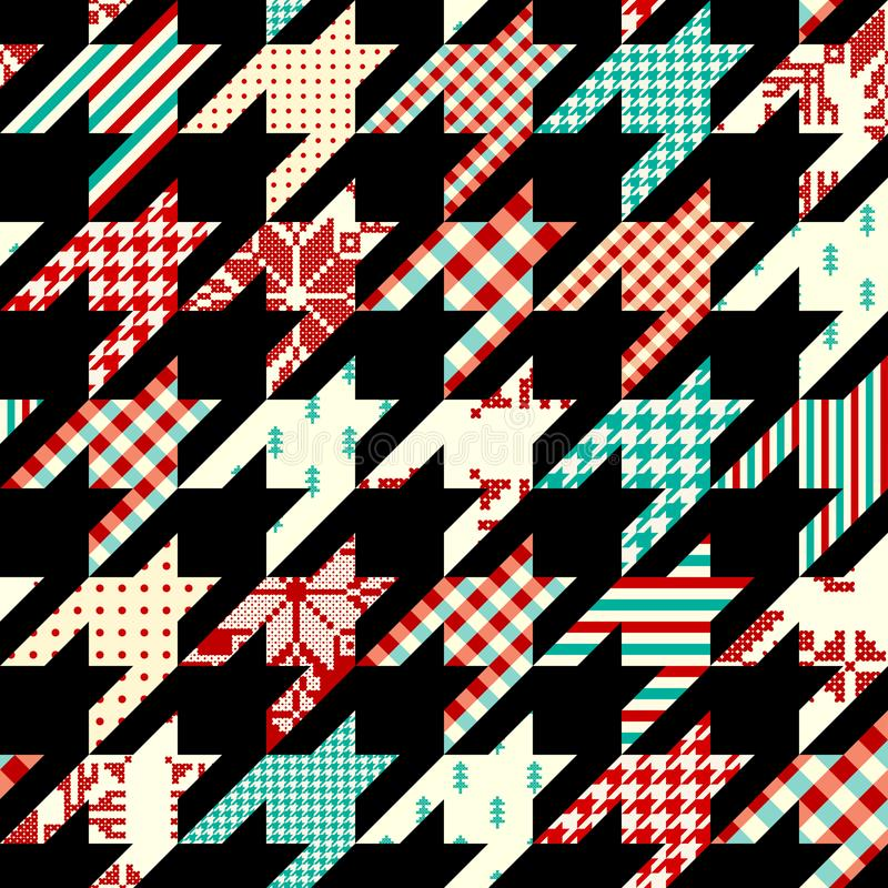 Patchwork textile pattern. Seamless quilting design background. Seamless geometric pattern. Classic Hounds-tooth pattern in a collage style. Vector image vector illustration