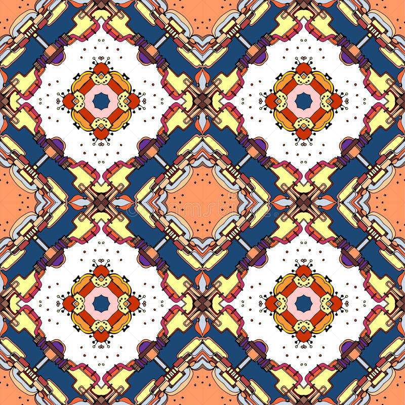 Seamless geometric pattern of colorful kaleidoscope. Multicolor ornamental squares. Vector illustration stock illustration