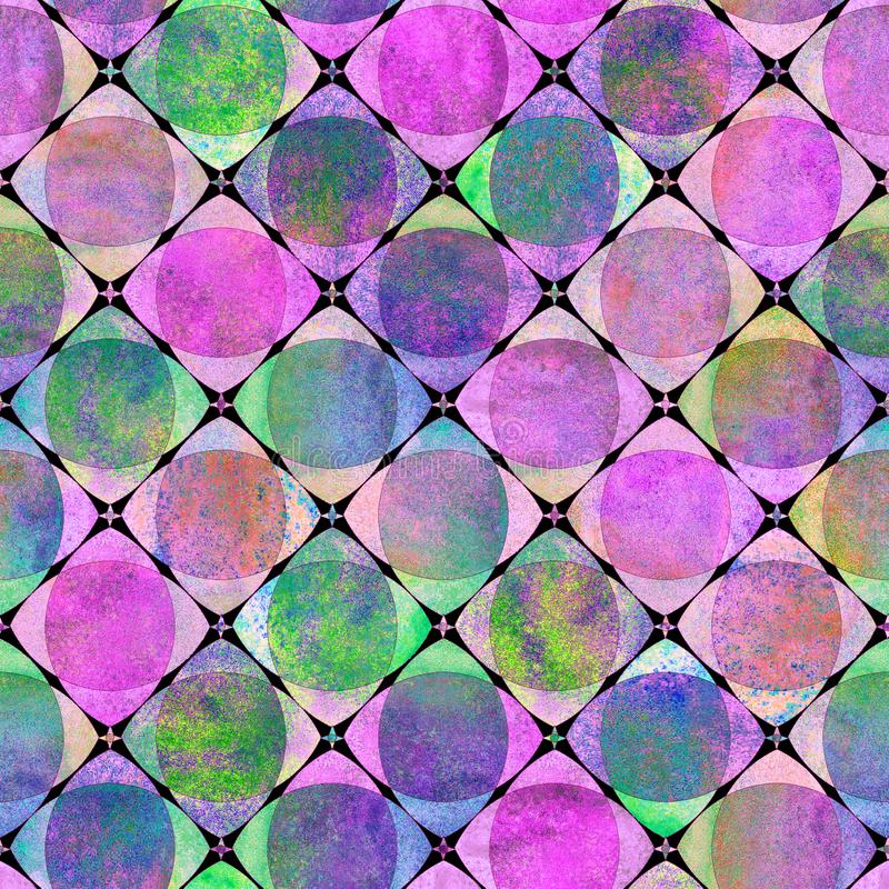 Seamless geometric pattern with colorful watercolor abstract overlapping shapes background. Seamless geometric pattern with colorful watercolor abstract stock illustration