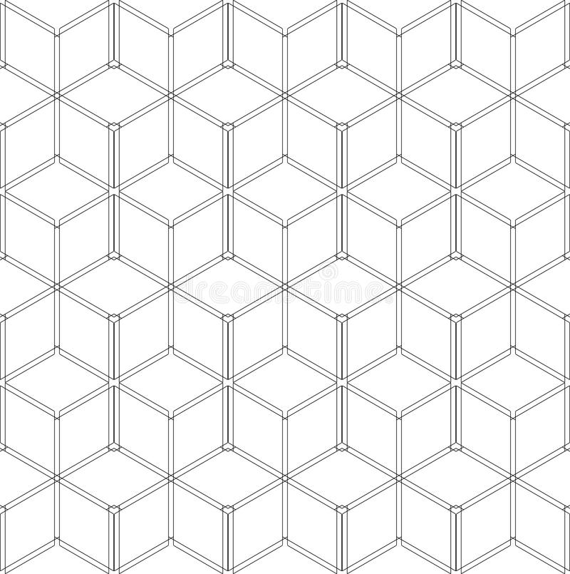 Seamless geometric pattern. 3D wireframe structure. vector illustration