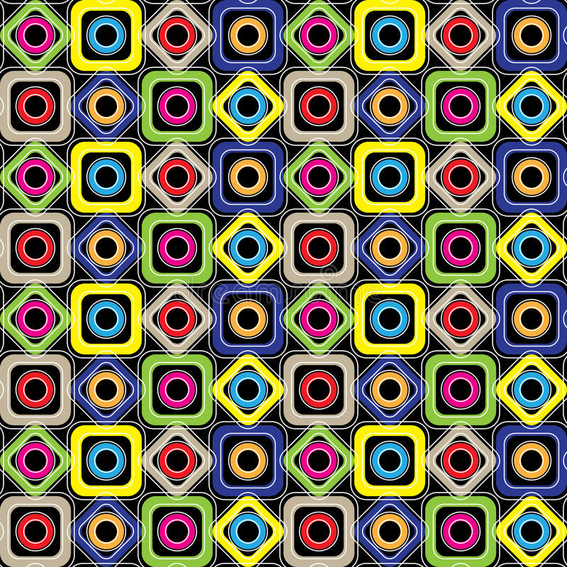 Seamless geometric pattern. Diamonds, circles, squares with rounded corners on a black background. Vector. Seamless geometric pattern. Colored diamonds, circles stock illustration