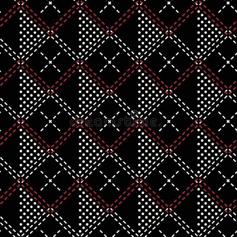Seamless pattern of dots and intersecting double dashed lines vector illustration