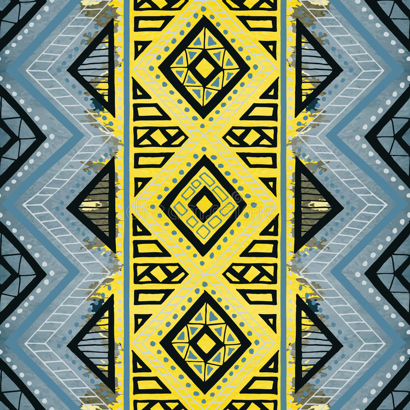 Seamless geometric pattern. Ethnic and tribal motifs. Watercolor vector illustration