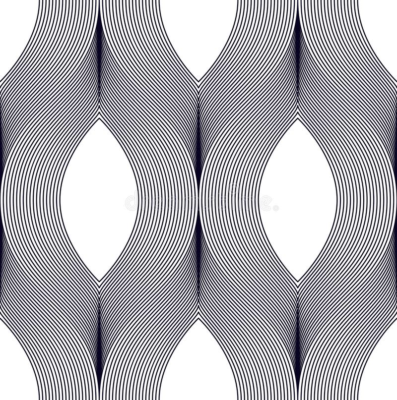 Seamless geometric pattern. Geometric simple fashion fabric print. Vector repeating tile texture. Wavy curve shapes trendy repeat royalty free illustration