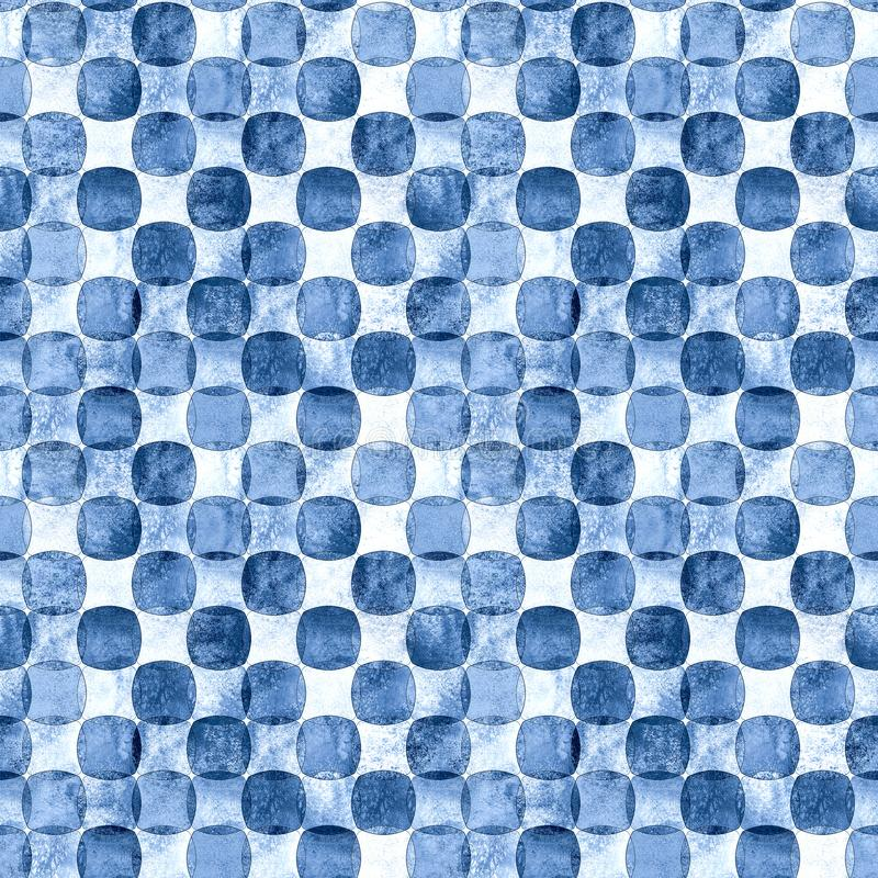 Seamless geometric pattern with grunge monochrome blue navy watercolor abstract overlapping shapes checkered background. Indigo blue navy seamless geometric royalty free illustration