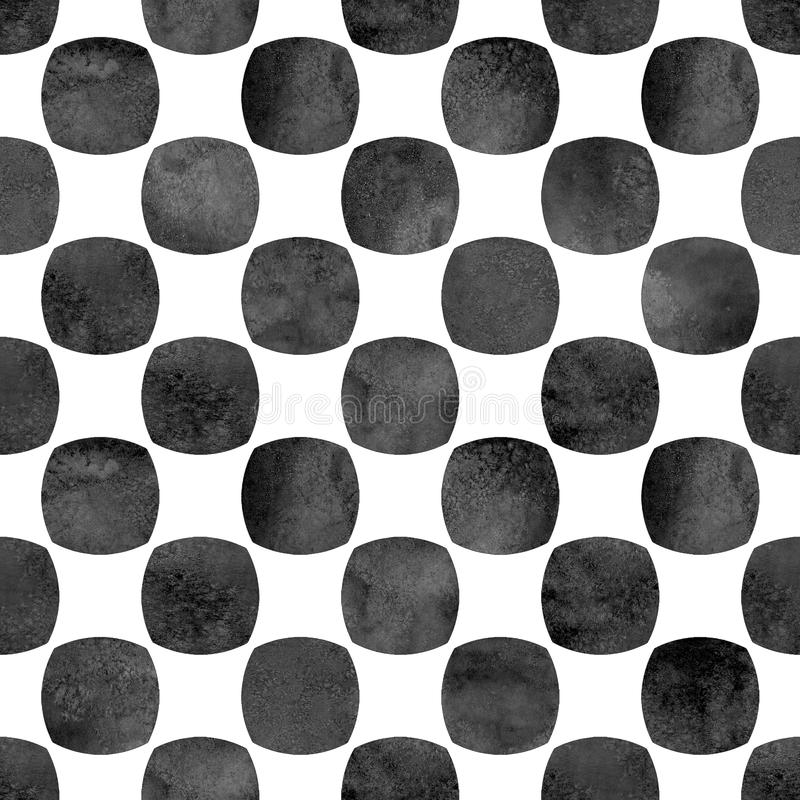 Seamless geometric pattern with grunge watercolor abstract circle black shapes on white background. Seamless geometric pattern with grunge watercolor abstract vector illustration