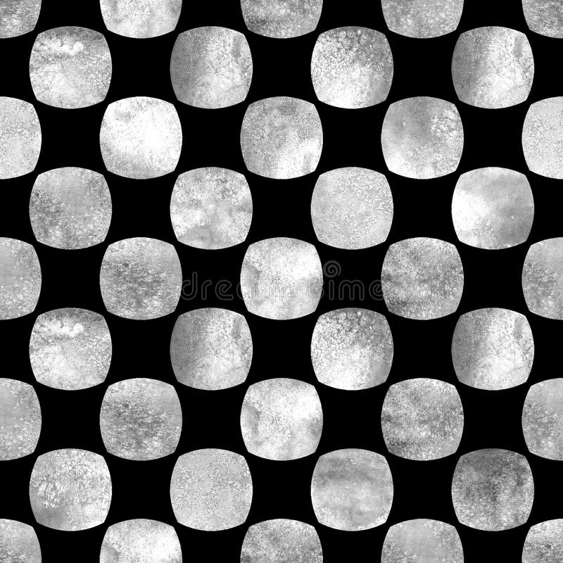 Seamless geometric pattern with grunge watercolor abstract white and gray shapes on black background royalty free illustration