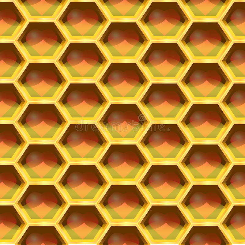 Seamless Geometric Pattern Of Heart In The Honeycomb. Vector Illustration stock illustration