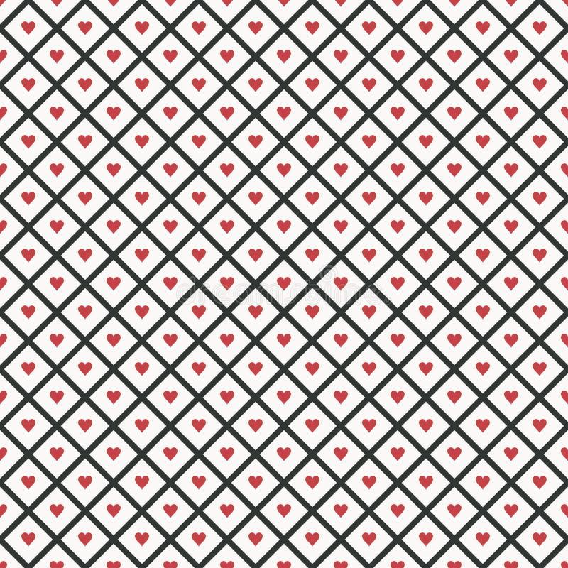 Seamless geometric pattern with hearts. Vector illustration. stock illustration