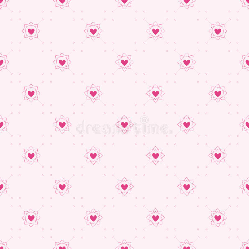 Seamless geometric pattern with hearts. stock images