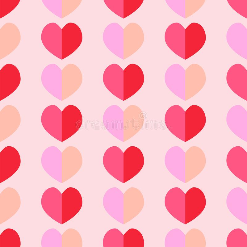 Seamless geometric pattern with hearts. Vector repeating texture vector illustration