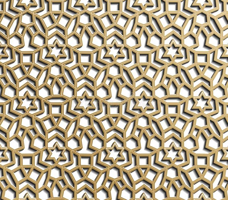 Seamless geometric pattern. Islamic pattern. arabic, east ornament, indian ornament, persian motif, 3D. Ramadan Kareem gold. Greeting card, banner. geometric vector illustration