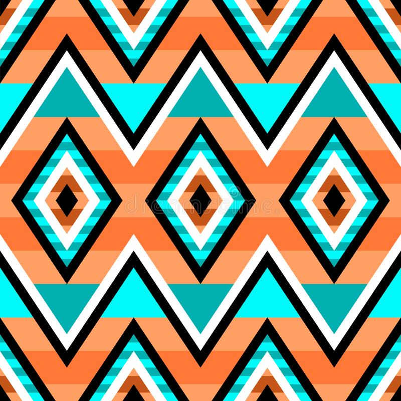 Seamless geometric pattern in native Americans style. Ethnic modern ornament. stock illustration