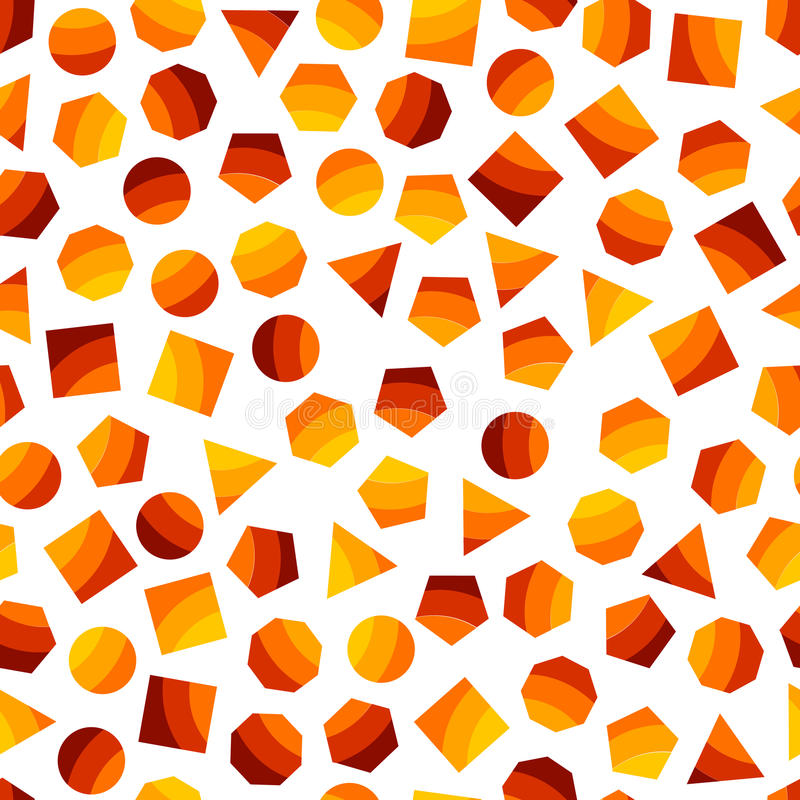 Seamless geometric pattern with orange squares, triangles, circles, pentagons, hexagons and heptagons for tissue and postcards. royalty free illustration