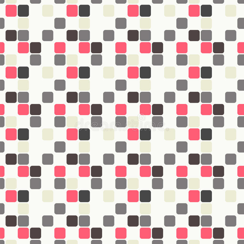 Seamless geometric pattern with pink, light blue, violet and grey squares stock image