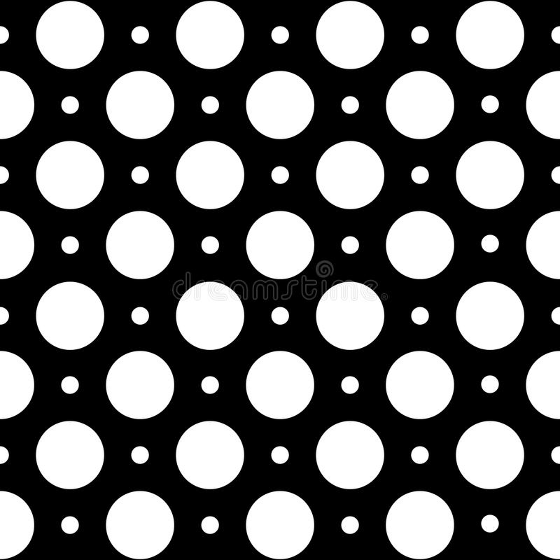Seamless geometric pattern in polka dots on a black background. vector illustration