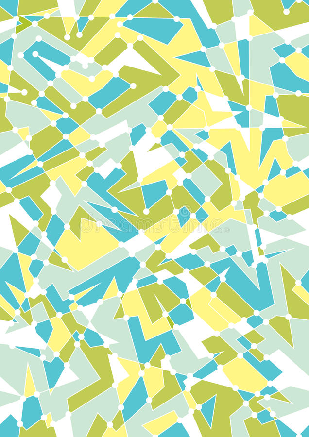 Bright Blue Color Blocking On One Wall And Ceiling: Seamless Geometric Pattern With Polygon Shapes Stock