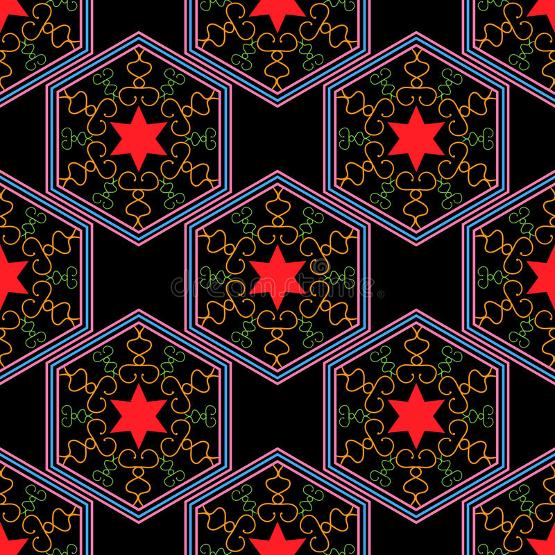 Seamless geometric pattern, purple hexagon with a red star on a black background vector illustration