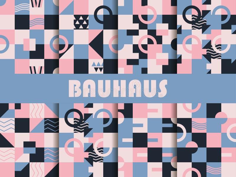 Seamless geometric pattern set. Bauhaus design. Background memphis style of the 80s. Rose quartz and serenity violet colors. Vector illustration stock illustration