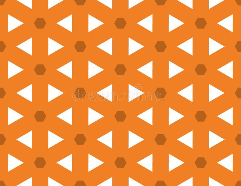 Seamless geometric pattern. Shaped brown hexagons and white triangle, orange background. stock illustration