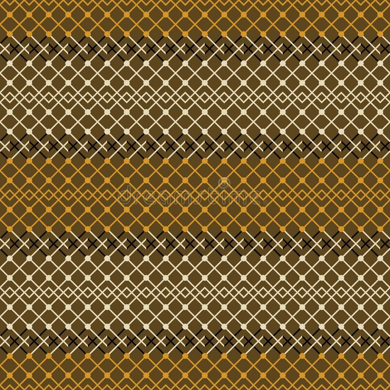Seamless geometric pattern of simple elegant lattice. Seamless abstract geometric pattern in brown and orange colors. Simple elegant lattice vector ornament royalty free illustration