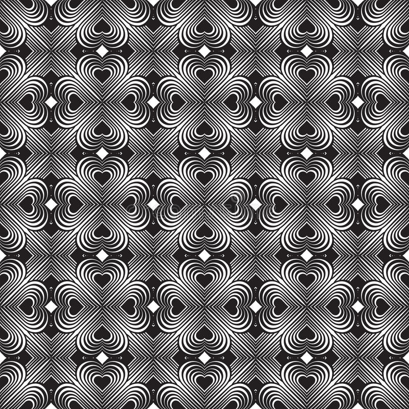 Seamless geometric pattern with stylized hearts. Repeating vintage texture. Abstract white and black background. Retro backdrop. stock illustration