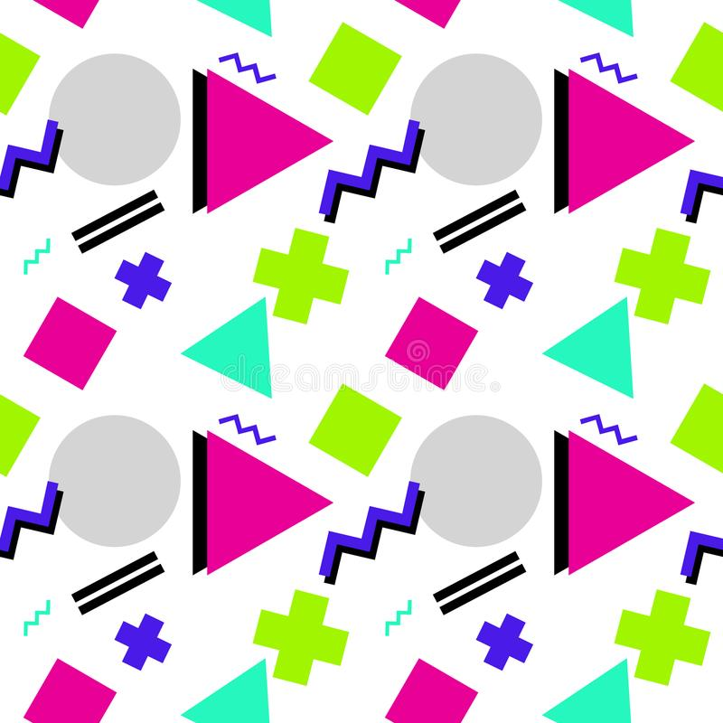 Seamless geometric pattern with triangle, rectangle, zigzag and royalty free illustration