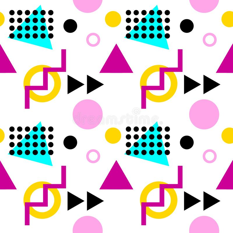 Seamless geometric pattern with triangles, dots, zigzags and circles. Memphis style stock illustration