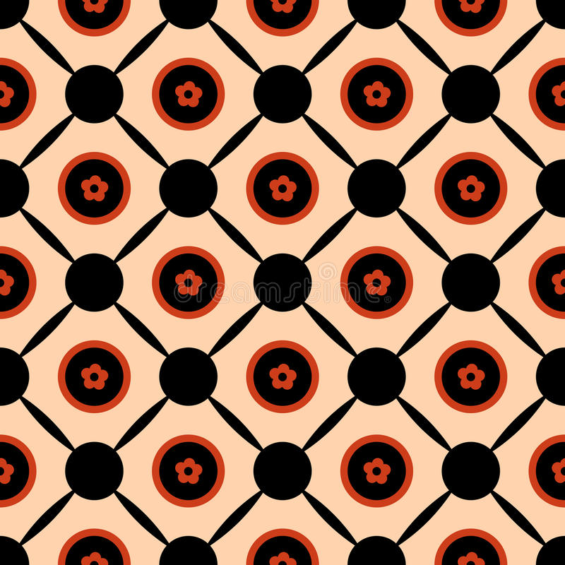 Seamless geometric pattern vector abstract background design of circles with orange spring summer flowers in them connected with b stock illustration