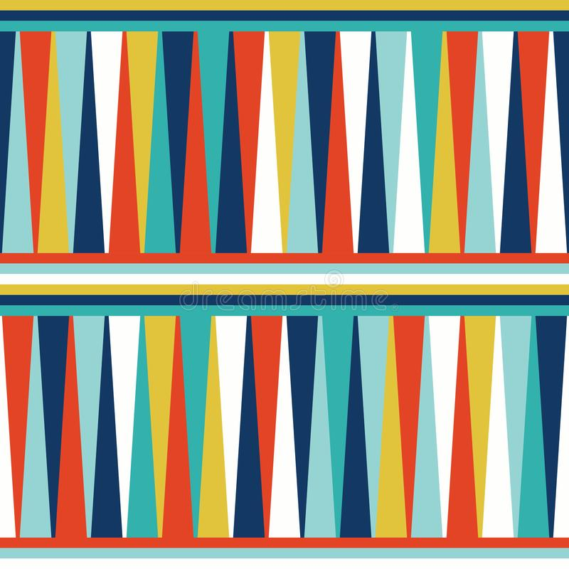 Seamless geometric pattern vector background abstract vintage retro design art with colorful triangles and horizontal stripes stock illustration