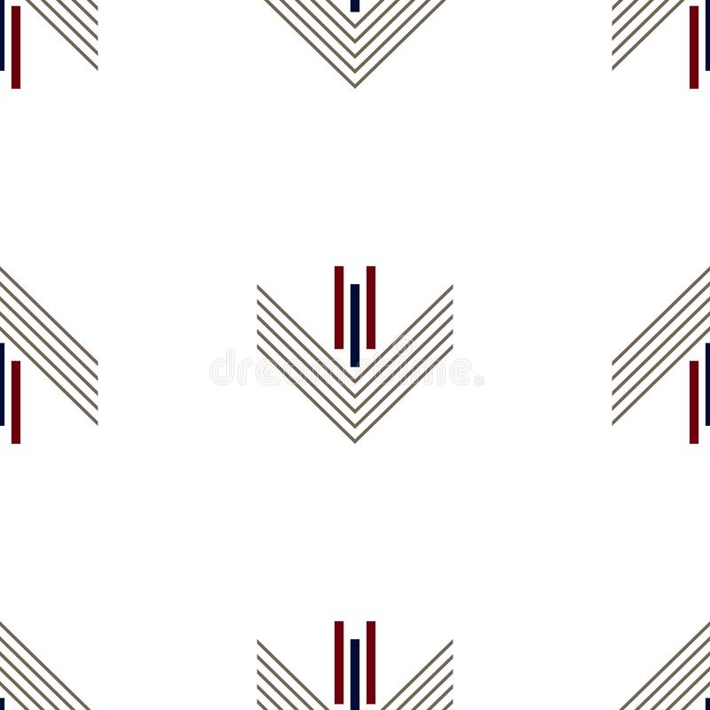 Seamless geometric pattern vector background colorful art with lines rectangles and arrows vintage retro design gray red navy blue royalty free illustration