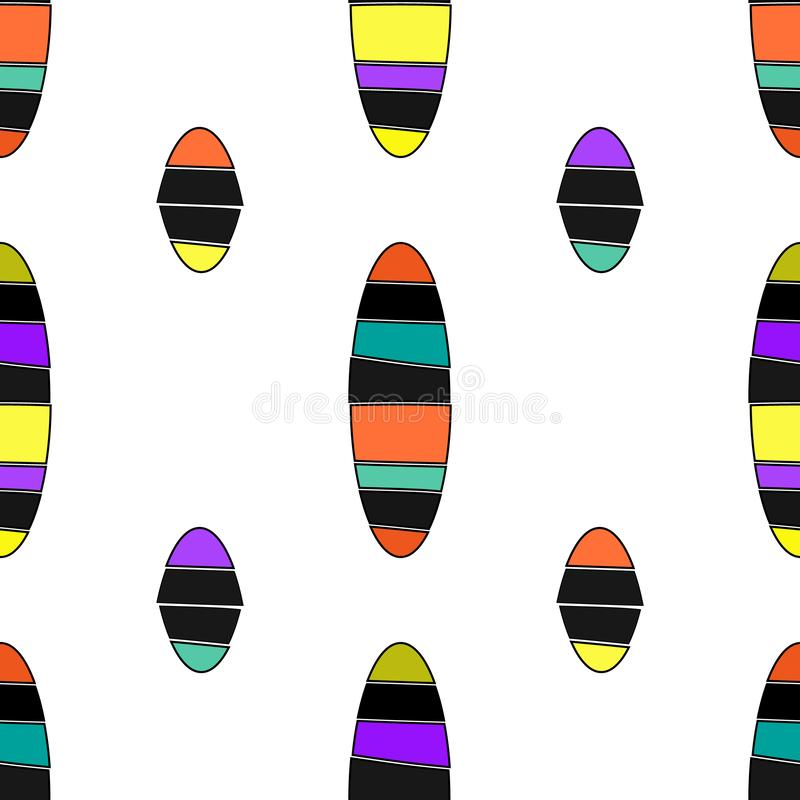 Seamless geometric pattern vector background with cut ellipses colorful design abstract vintage retro art white blue orange purple royalty free illustration
