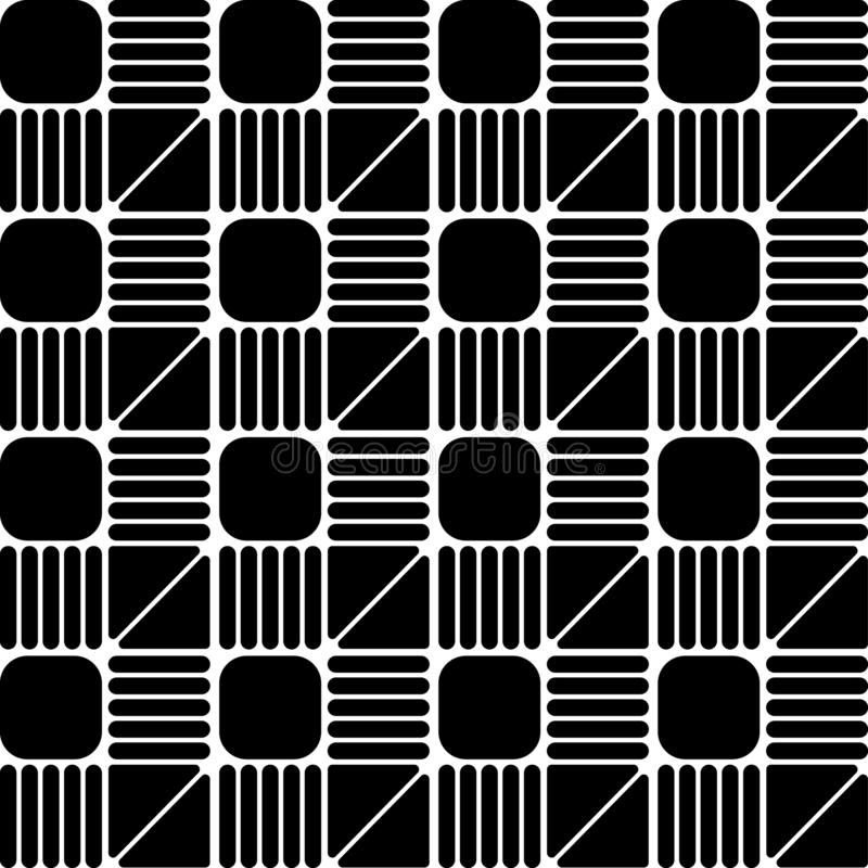 Seamless geometric pattern vector background design monochrome abstract art with square triangle and lines which has round corners vector illustration