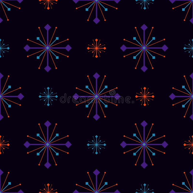 Seamless geometric pattern vector background vintage retro design colorful art with arrows compass looking stars like galaxy at ni stock illustration