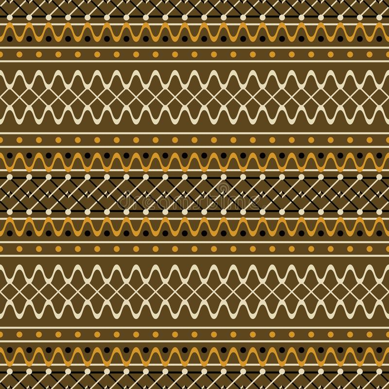 Seamless geometric rustic pattern with wavy and zigzag lines. Seamless geometric pattern with wavy and zigzag lines. Brown and orange colors. Cute rustic style stock illustration