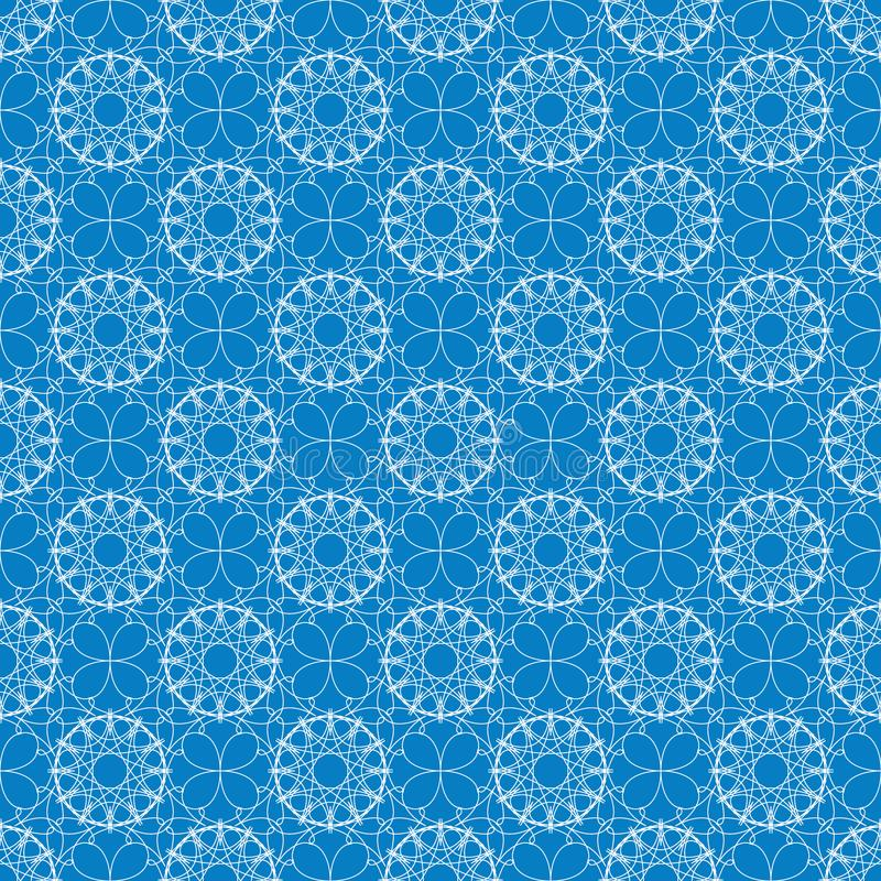 Seamless geometric pattern. White lacy ornament on a blue background. Winter snowflake theme. Vector illustration vector illustration