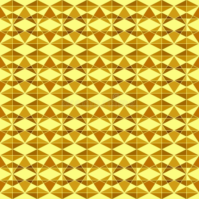 Seamless geometric pattern of yellow gold triangle shapes, many sizes, on light yellow background. Flat design vector illustrati stock illustration