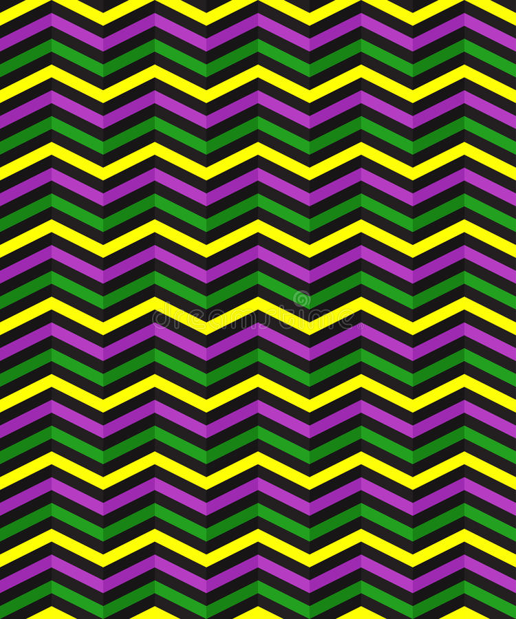 Seamless geometric pattern with zigzag stripes. Suitable for packaging, wrapping paper, wallpaper on Mardi Gras celebration. Vector EPS10 stock illustration