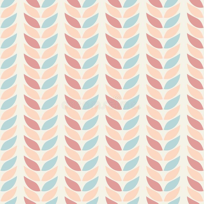 Seamless geometric patterns background leaves in pastel colors on a beige background. Abstract leaf texture. Vector illustration stock illustration