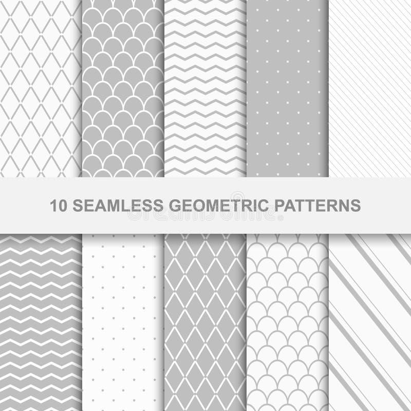 10 Seamless geometric patterns. vector illustration