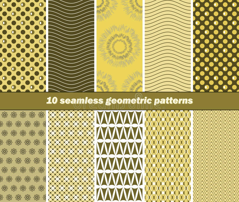 10 seamless geometric patterns in olive green and yellow colors vector illustration