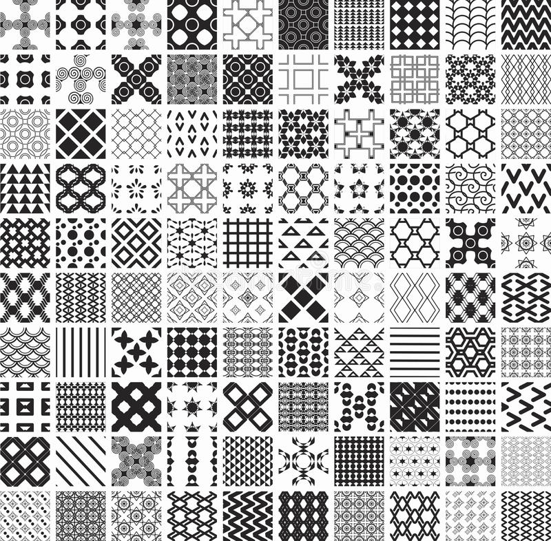 100 seamless geometric patterns and ornaments in black and white, monochrome royalty free illustration