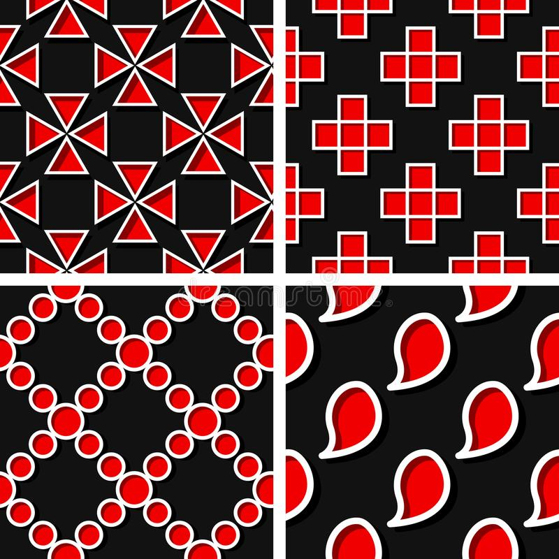 Seamless geometric patterns. Set of black 3d backgrounds with red elements stock illustration