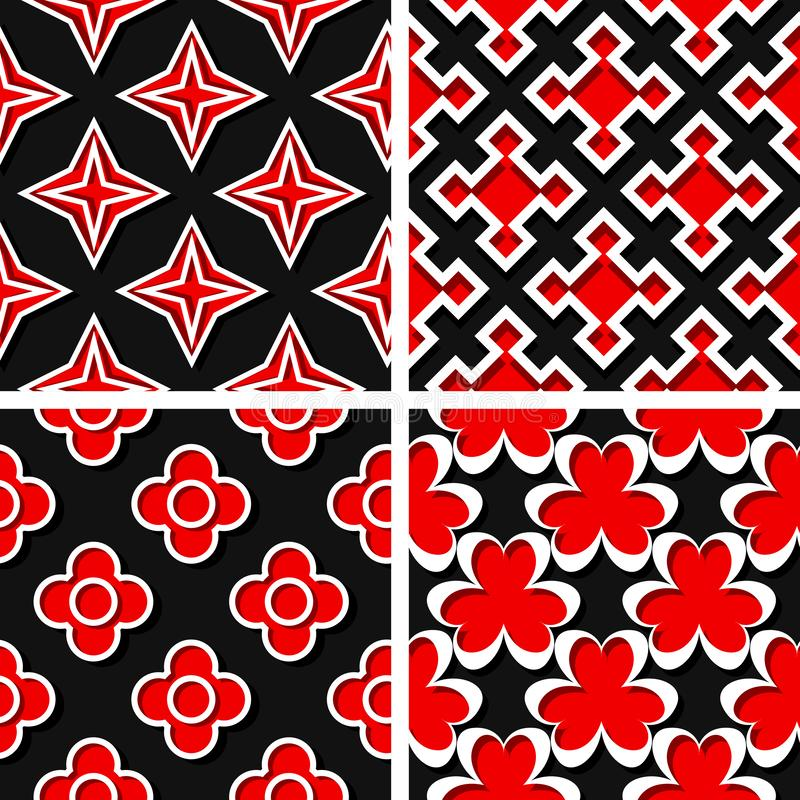 Seamless geometric patterns. Set of black 3d backgrounds with red elements royalty free illustration