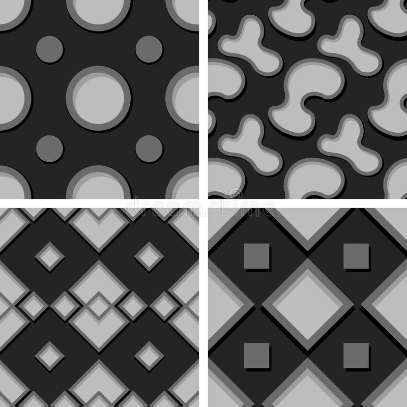 Seamless geometric patterns. Set of black and gray 3d backgrounds stock illustration
